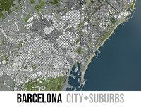 city barcelona surrounding - 3D model