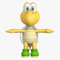 green turtle koopa troopa 3D model