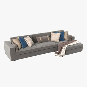 3D realistic sectional sofa