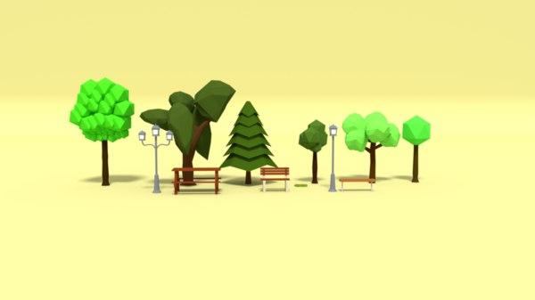 3D park assets pack model