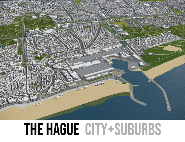 3D city hague surrounding -