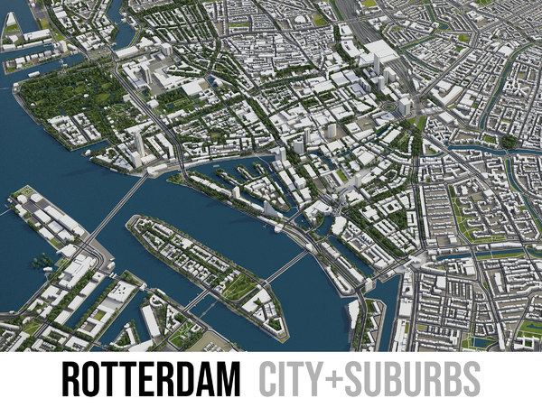 3D city rotterdam surrounding -