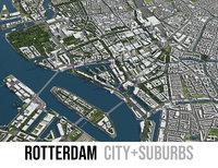 3D city rotterdam surrounding -