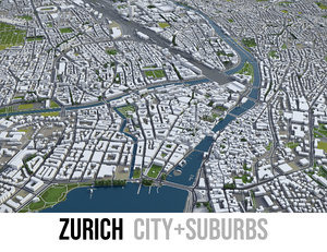 city zurich surrounding - 3D