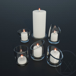 3D candles holders glass model