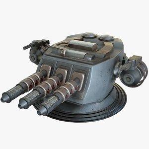 3D heavy laser cannon sci-fi model