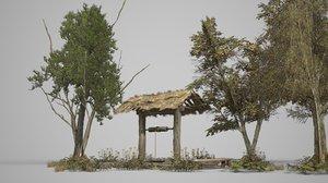 trees weeds water 3D model