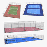 Outdoor Courts 3D Models Collection