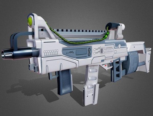futuristic assault rifle model