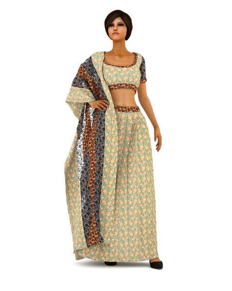 indian lehenga blouse dressing 3D