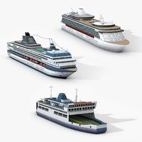3D model passengers watercraft cruise ship