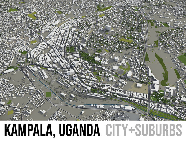 3D city kampala surrounding - model
