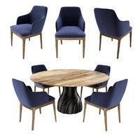 wood table chair pandanus 3D model