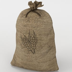 3D food sack grain tied