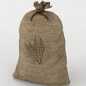 3D food sack grain tied