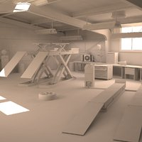 automotive workshop interior - 3D model