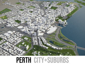 3D city perth surrounding -