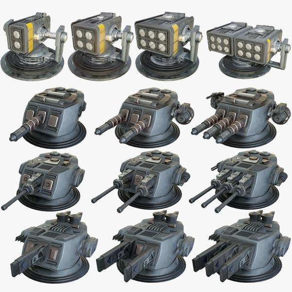 heavy sci-fi turrets x13 3D model