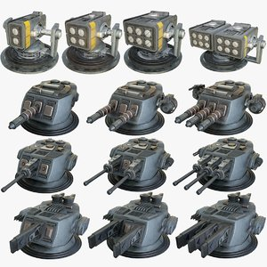 heavy sci-fi turrets x13 3D model
