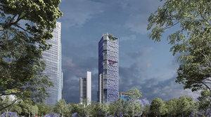 legorreta torre bbva bancomer 3D model