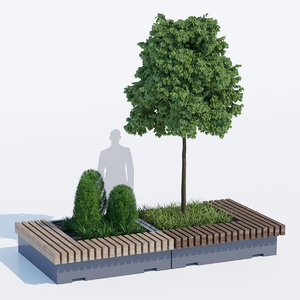 3D big green benches tree