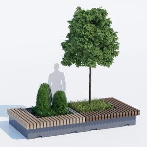 3D big green benches tree