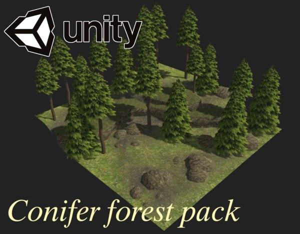 3D trees conifer forest landscape