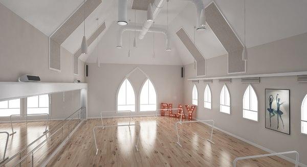 ballet-dance studio 3D model