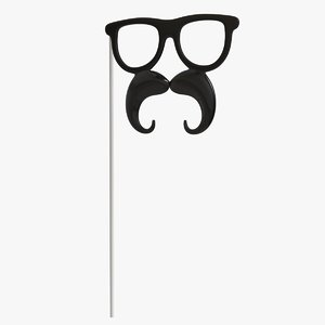 mustache sunglasses stick props 3D model