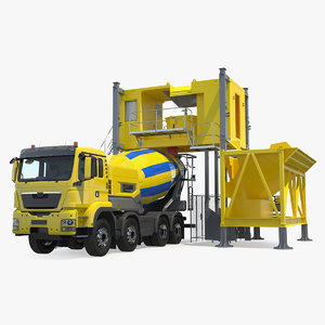 mobile mixing plant concrete mixer 3D model