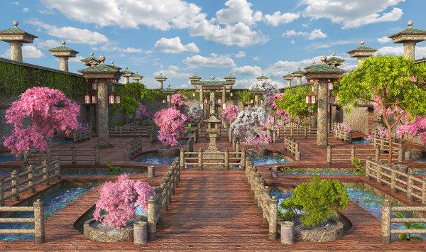 japan japanese garden 3D