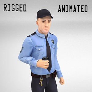 3D security guard rigged