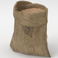 3D food sack grain open