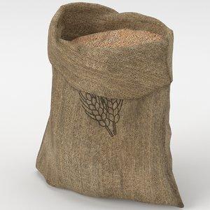 3D food sack grain open