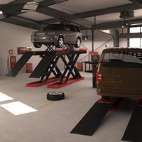 automotive workshop interior cars 3D model
