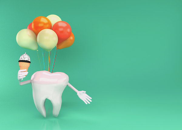 happy tooth character teeth model