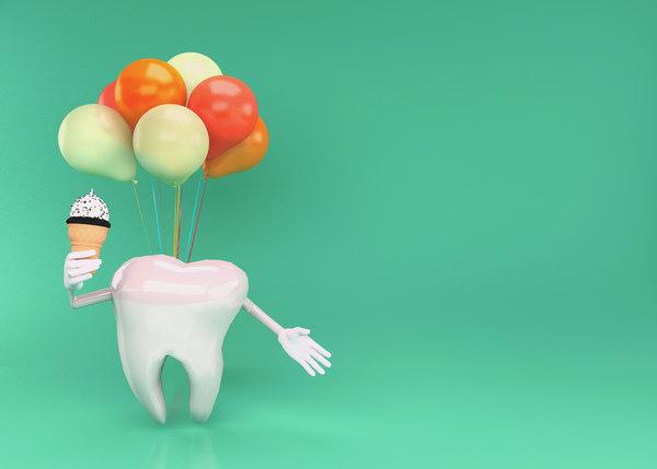 happy tooth character teeth model