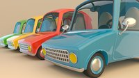 Colorful Low Poly Cartoonist Cute 3D Cars Low-poly 3D model