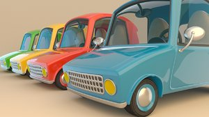 3D cartoonist cute cars colors