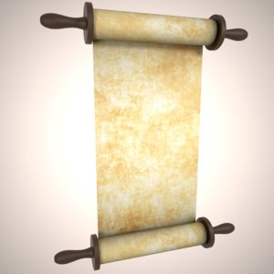 3D model rigged old parchment