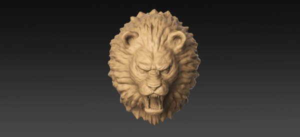 3D lion head sculpture model