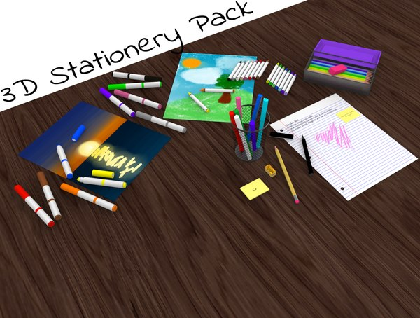 pencil pack stationery 3D model