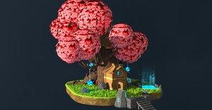 cartoon fantasy elf tree house 3D