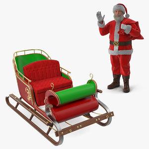 3D model santa claus holding gift