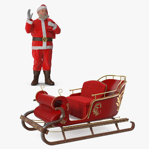 santa claus sleigh 3D model