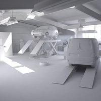 3D automotive workshop interior cars