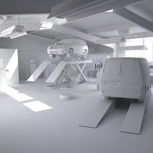 3D automotive workshop interior cars