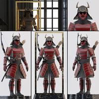 samurai armor stand helmet 3D model