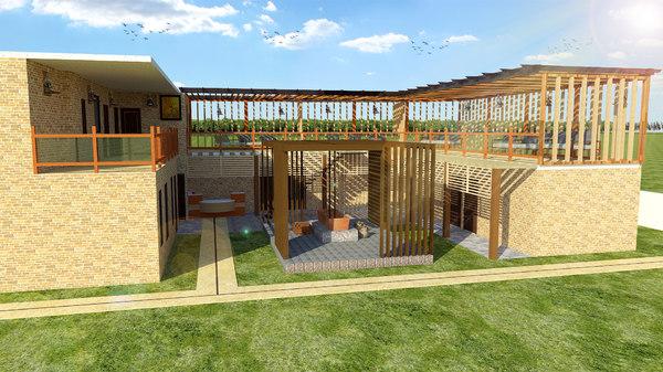 3D village house design model
