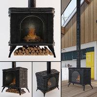 vintage iron cast furnace 3D model